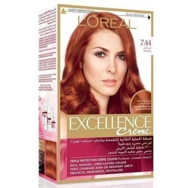L'Oreal Paris Excellence Crème Reds Hair Color - 7.44 Pepper Red
