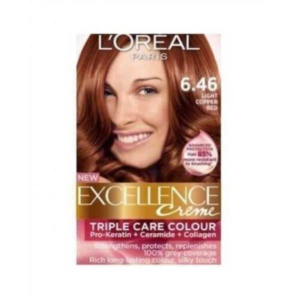 L'Oreal Paris Excellence Crème Reds Hair Color - 6.46 Light Copper Red