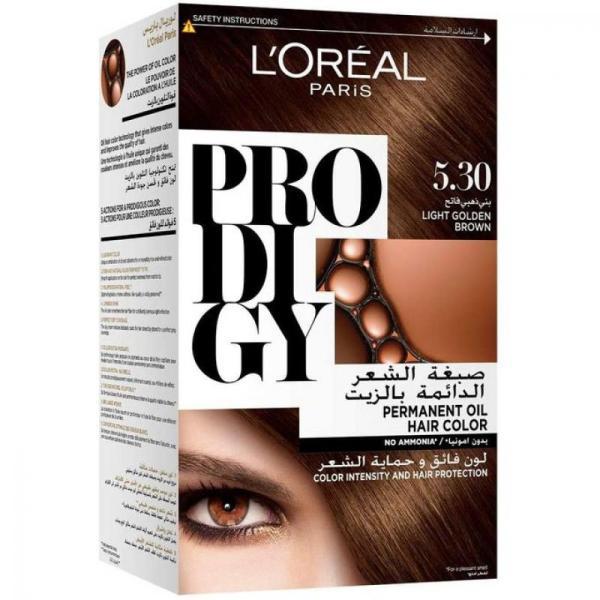 L'Oreal Paris Prodigy Ammonia Free Hair Color 5.30 Light Golden Brown