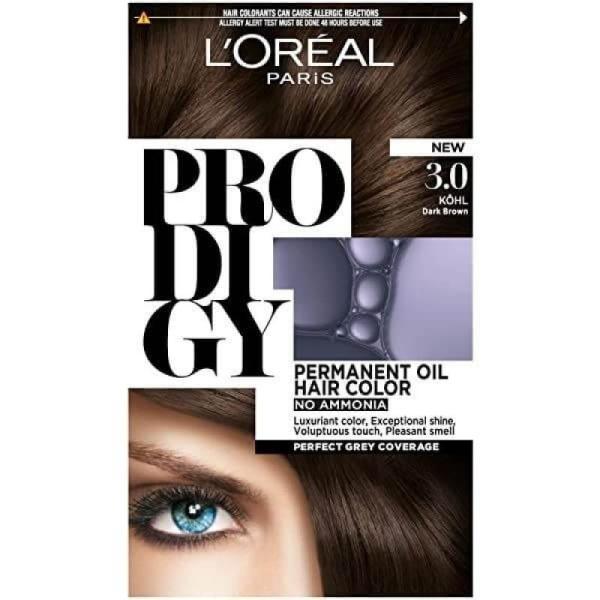 L'Oreal Paris Prodigy Ammonia Free Hair Color - 3.0 Brown Kohl / Brown Black