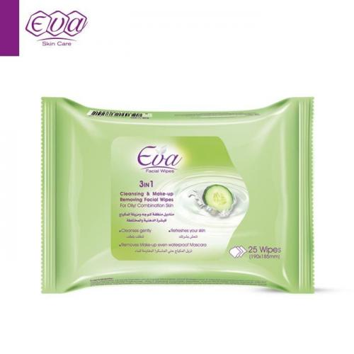 Cleansing and Make-up Removing Facial Wipes With Yoghurt And Cucumber For Oily/ Combination Skin: 25 wipes per pack